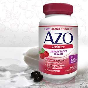 Bottle of AZO Cranberry softgels sitting on a bathroom counter in a home