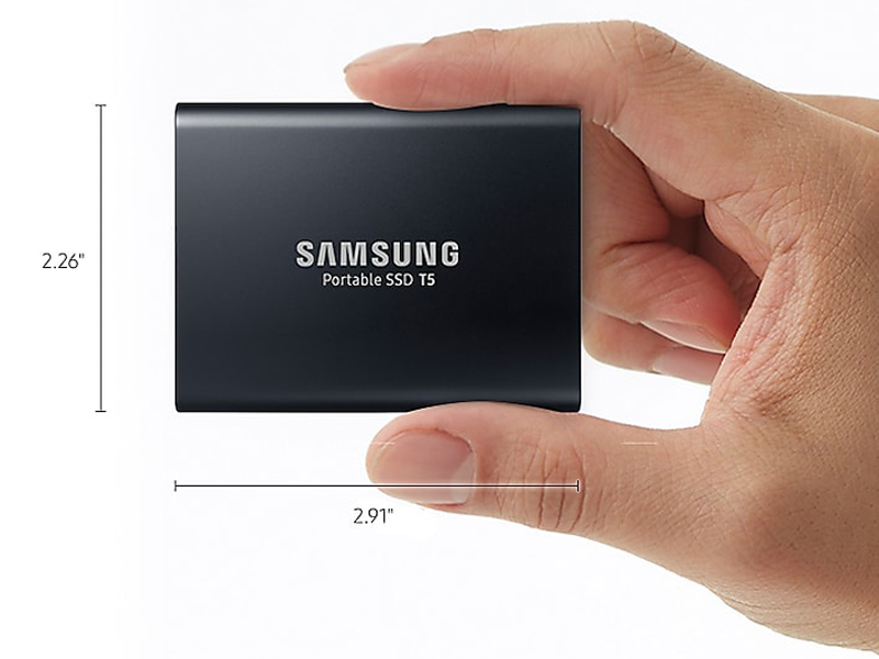 "Samsung Portable SSD T5 is 2.26"" wide and 2.91"" long, smaller than the average business card"