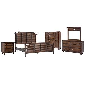 dark shutter wood,shutter wood,southern bedroom,coastal bedroom,walnut,dark stain,mahogany,hardwood