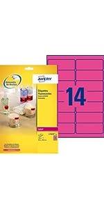 étiquettes fluo, etiquette fluo, étiquettes haute visibilité, étiquette rose, étiquette rose fluo, é