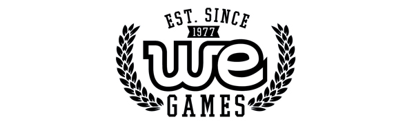 WE Games logo est since 1977 making classic board games like chess checkers backgammon wooden