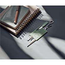 Swisscard credit card wallet accessory in green by notebook and pen on desk