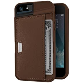 Smartish iPhone SE/5s/5 Wallet Case - Q Card Case for iPhone 5 / 5s / SE [Protective Slim Cover] (Silk) - Brown Fabric