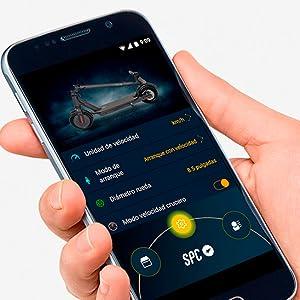 aplicación,smartphone,app,patiente,aplicación para patinete eléctrico,spc buggy scooter,freno disco