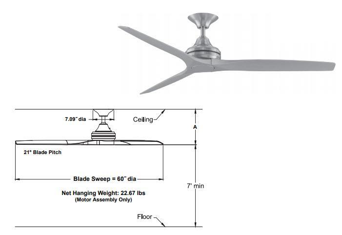 Fanimation Ma6721bs Spitfire Ceiling Fan Brushed Satin