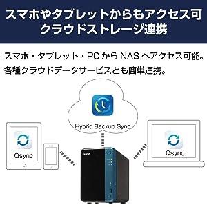 スマホやタブレットからもアクセス可 クラウドストレージ連携スマホ・タブレット・PCからNASへアクセス可能。各種クラウドデータサービスとも簡単連携。