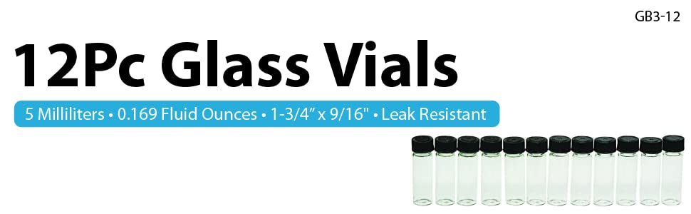 Banner image with vials and text on white background