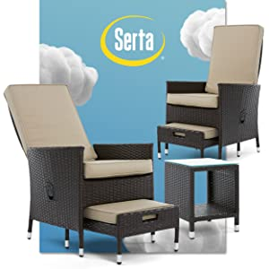 Serta 5 piece outdoor patio lounge furniture with reclining chairs ottomans and side accent table