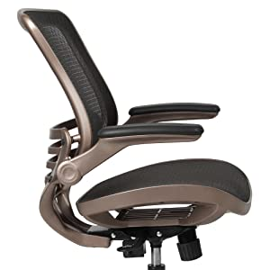 Mid-Back Transparent Black Mesh Executive Swivel Office Chair with Melrose Gold Frame
