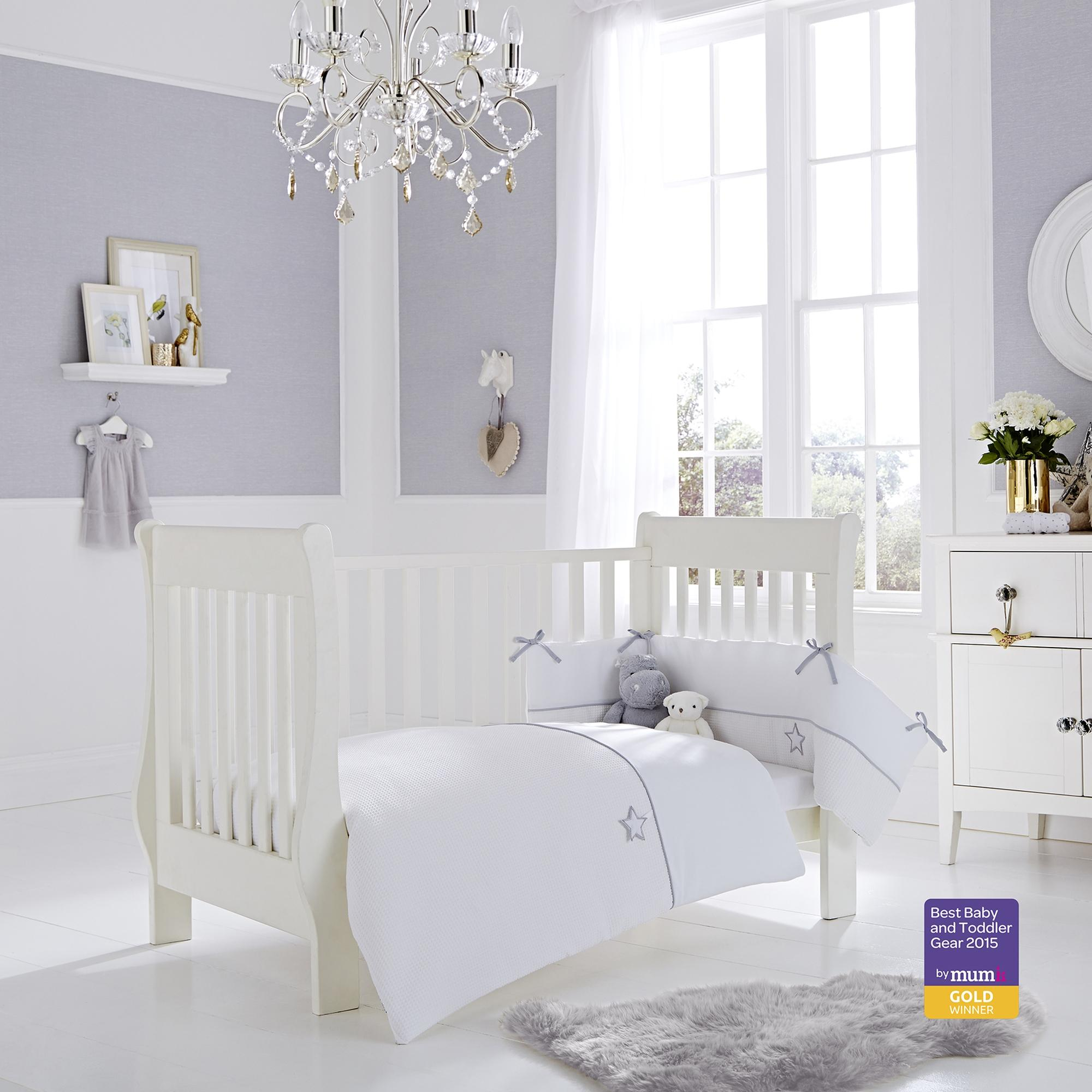 Clair De Lune White Silver Lining Cot Cot Bed Quilt And