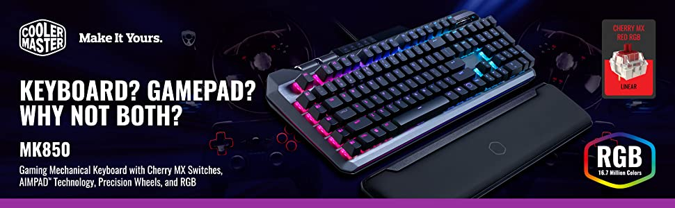Cooler Master MK850 Gaming Mechanical Keyboard with Cherry MX Switches,  Aimpad Technology, Precision Wheels, and RGB Illumination