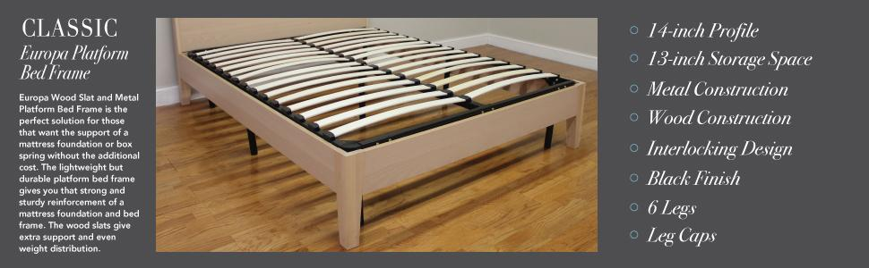 Amazon Com Classic Brands Europa Wood Slat And Metal Platform Bed