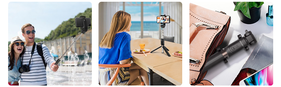selfie stick tripod with bluetooth remote, pocket-size, rotable, find the best selfie angle.