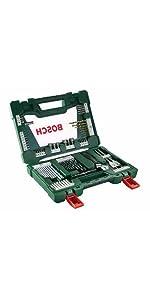 Bosch;accesorios:bricolaje; brocas; atornilladores; maletín; cajas; puntas; atornillar; llaves;