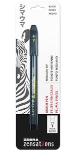 zebra zensations brush pen, medium tip brush pen, pigment ink pen, calligraphy pen