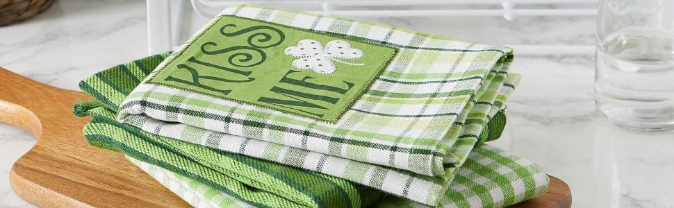 irish hand towels, st pattys towels, fun irish gifts, shamrock tea towel, st patricks day gift