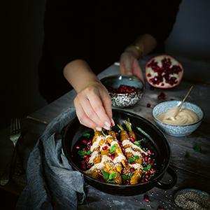 Aromenfeuerwerk vegetarisch geröstete Möhren