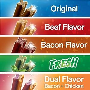 Flavor options, original, beef flavor, bacon flavor, fresh, dual flavor, bacon and chicken