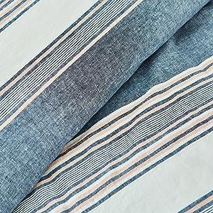 splendid tuscan stripe navy blue peach white comforter duvet cover cotton linen soft bed bedroom