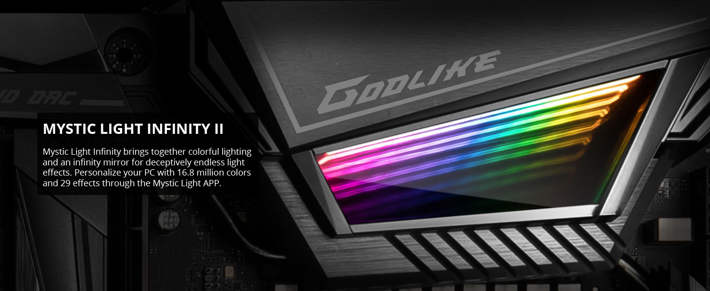 msi meg x570 godlike mystic light ii infinity mirror rgb led lighting rainbow color multicolor