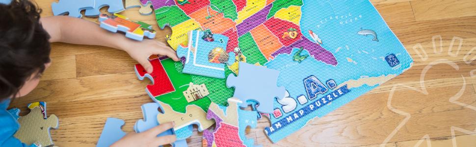 Amazon.com: 54 Piece USA Foam Map Puzzle: Toys & Games