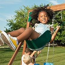 Tioga Fort, WS 8348, swing set for kids, swing set with slide, wooden swing set