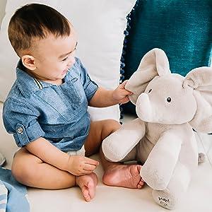 flappy elephant gund plush stuffed animal toy sing play peekaboo peek a boo baby infant animated