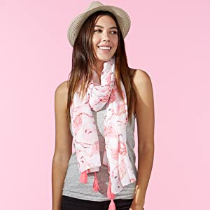 Tickled Pink Flamingo Print Summer Scarf paired with Tickled Pink hat