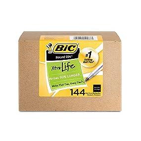 box of 144 bic round stic xtra life black ball pens