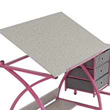 angled top, tilting top, tilt top, pencil ledge, pencil guard, drafting table, drawing table