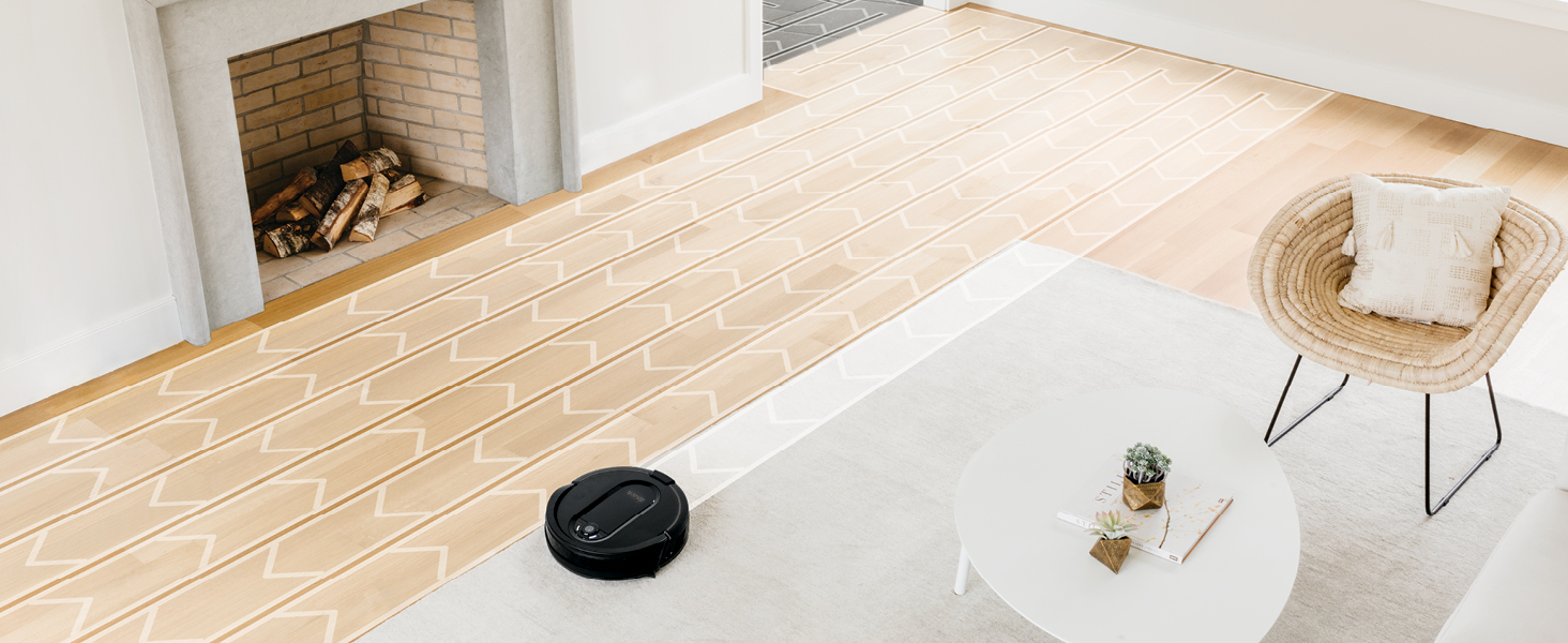 shark robot vacuum cleaning a living room row-by-row