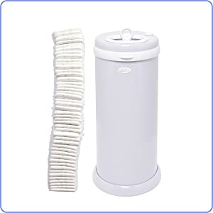 A tall stack of diapers stand next to the Ubbi diaper pail