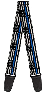 Thin Blue Line Gray Police Lives Matter Acoustic Electric Guitar Strap America NYPD PD Department
