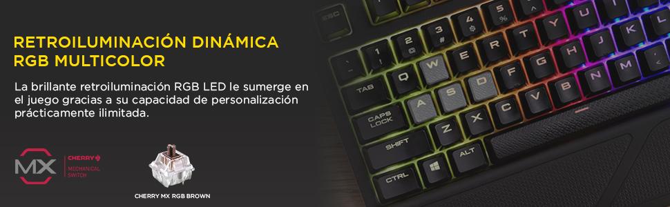 Corsair Strafe RGB - Teclado mecánico Gaming (Cherry MX Brown, retroiluminación Multicolor RGB, QWERTY Español), Negro