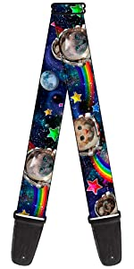 Space Cats Astronaut Rainbow Gay Stars Galaxy Outer Space Guitar Strap Acoustic Electric