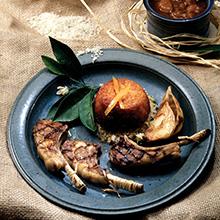 lamb rib chops, individual rice crust, shishlik, individual tah dig