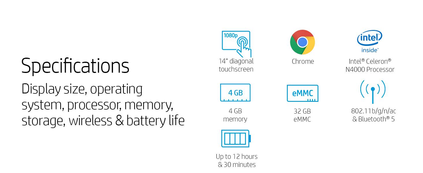 14 inch display hd intel celeron n4000 4 gb 32 802.11b/g/n/ac memory storage hard drive sdram ram