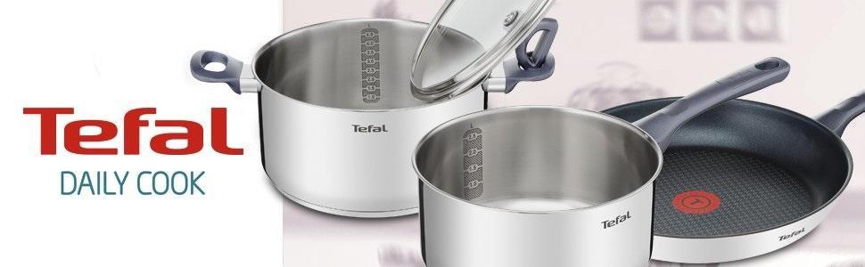Tefal Daily Cook - Juego de 3 Sartenes de Acero Inoxidable de 20, 24 y 26 cm, con Antiadherente para Todo Tipo de Cocinas Incluido Inducción
