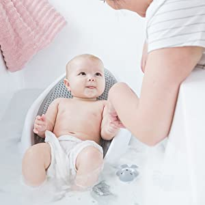 angelcare baby bath support grey safe soft hygienic quick dry quick dry mildew resistant cleaning