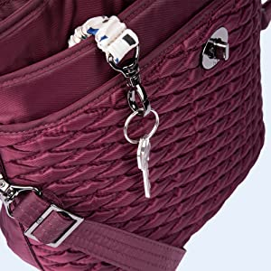 bag with retractable key-chain, bag with pockets