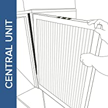 Illustration of Filtrete air filter being installed into central unit