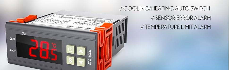 1pc Digital STC-1000 All-Purpose Temperature Controller Thermostat With Sensor