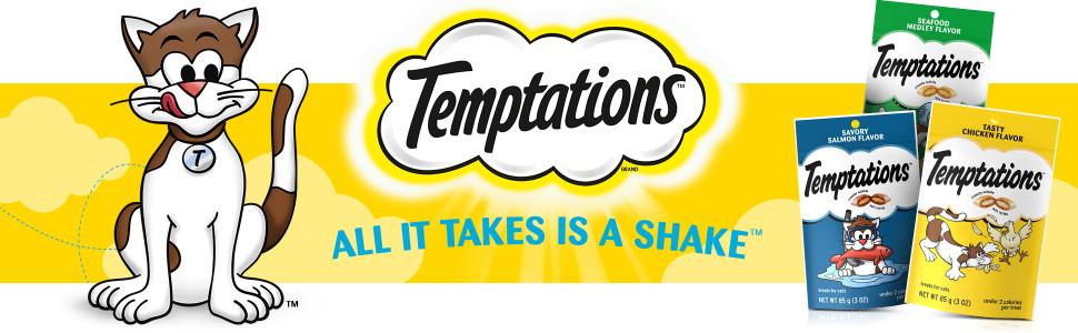 Temptations All It Takes Is A Shake, Temptations Classic Cat Treats, Crunchy, Soft Cat Treats, Chews