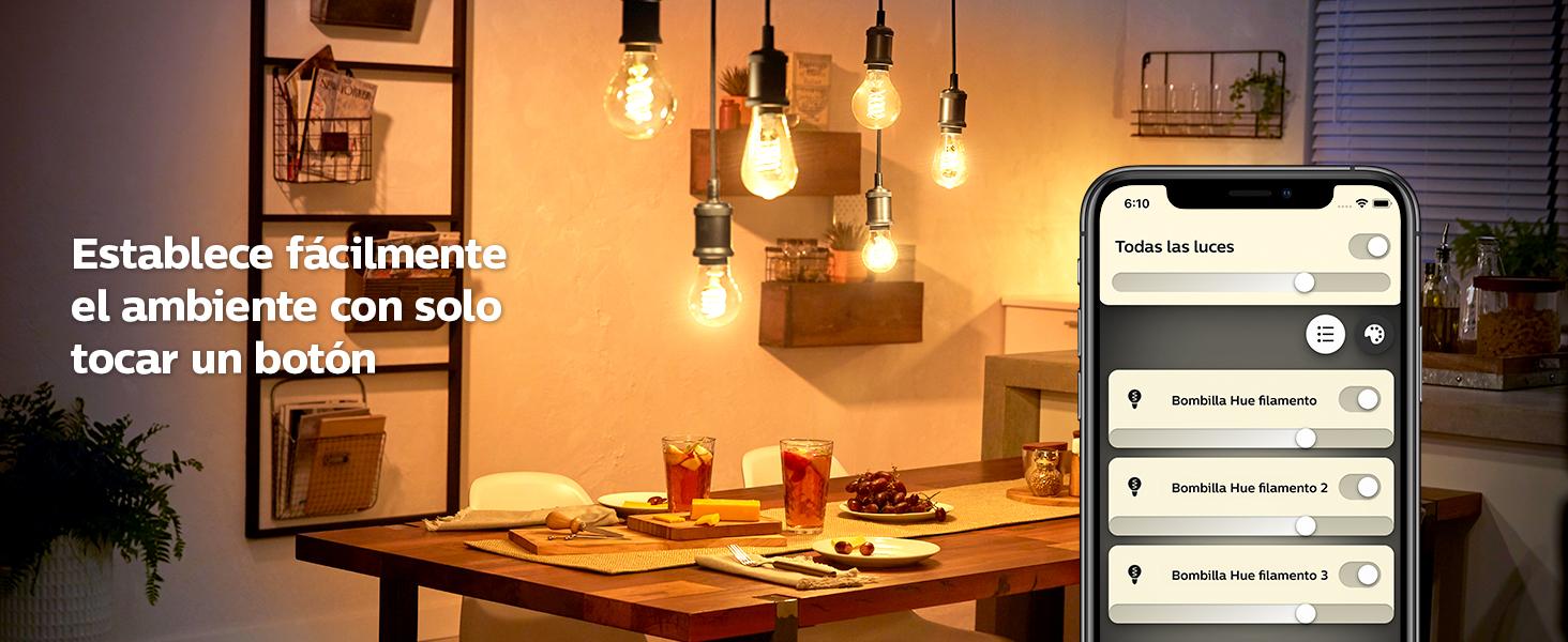 Philips Hue White bombilla LED inteligente E27, 7 W con Alexa y Google Home