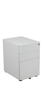 Modern 3-Drawer Mobile Locking Filing Cabinet with Anti-Tilt Mechanism