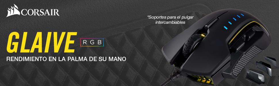 Corsair Glaive RGB - Ratón óptico para Juegos (retroiluminación ...