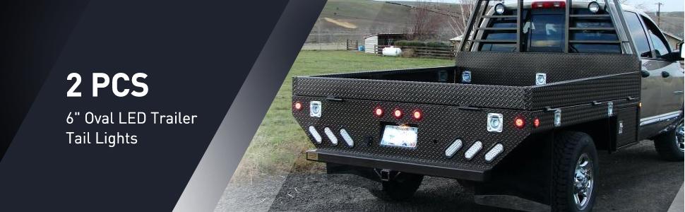 """6"""" Oval Trailer Tail Lights reverse back up rear light"""