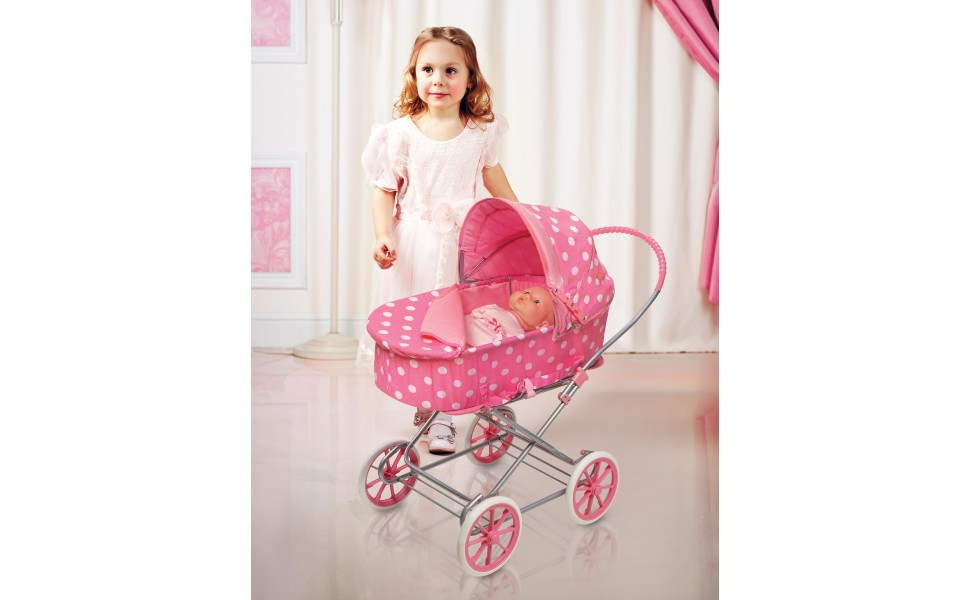 """Fits 18/"""" Doll Just Like Mommy 3-in-1 Doll Pram//Carrier//Stroller Pink//Gingham"""