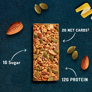 Unwrapped :ratio KETO friendly snack bar with sugar, net carbs and protein labeling