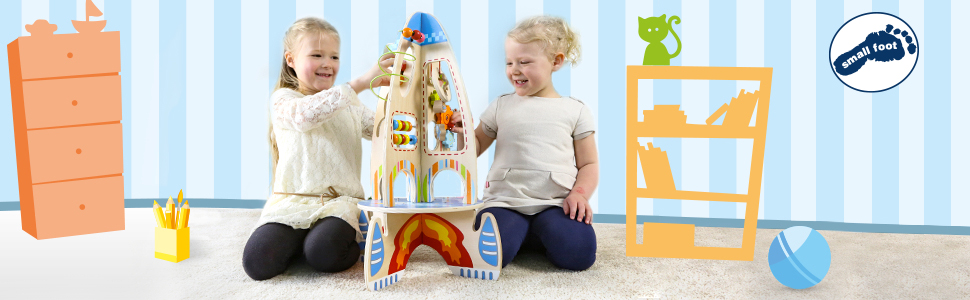 small foot wooden toys by legler banner. 2 children playing with a wooden rocket ship.